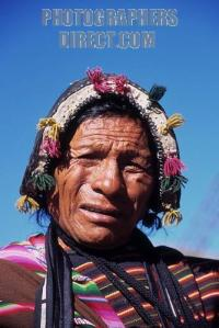 Man in traditional dress , Tarabuco market , near Sucre , Bolivia